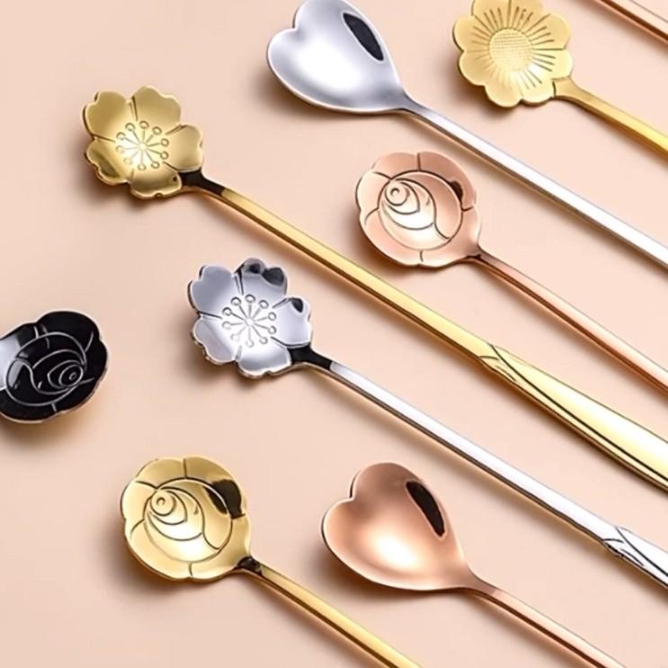 不鏽鋼花型 湯匙 攪拌湯匙 醫療級不鏽鋼 布丁勺 蛋糕勺 慕斯勺 咖啡攪拌棒 造型攪拌棒 短湯匙 造型湯匙 花朵 湯匙
