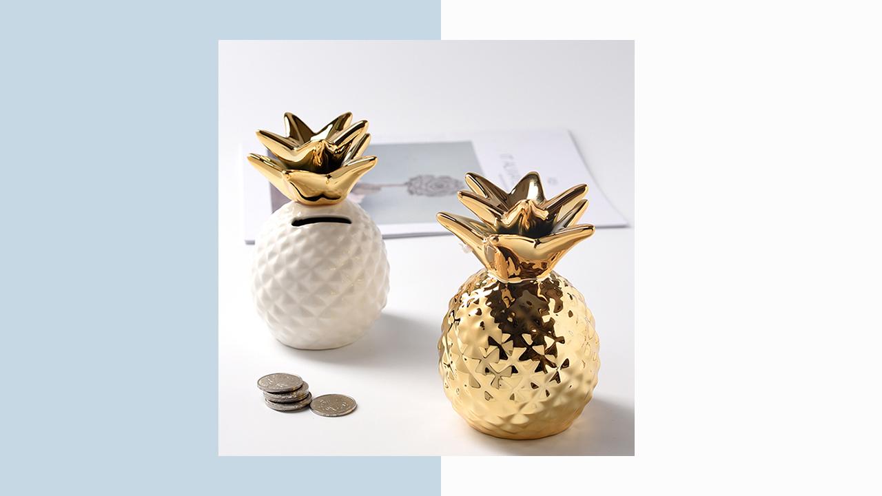 金色陶瓷鳳梨存錢筒(C)